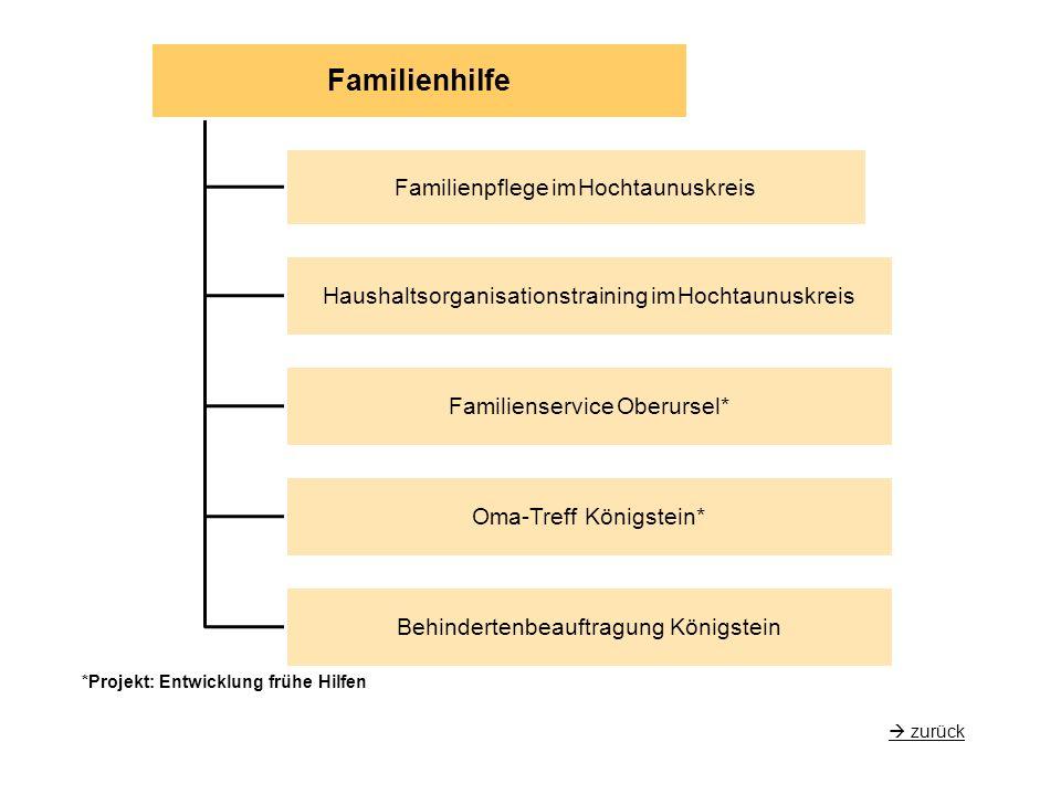 Familienhilfe Familienpflege im Hochtaunuskreis Haushaltsorganisationstraining im Hochtaunuskreis Familienservice Oberursel* Oma-Treff Königstein* Behindertenbeauftragung Königstein  zurück *Projekt: Entwicklung frühe Hilfen