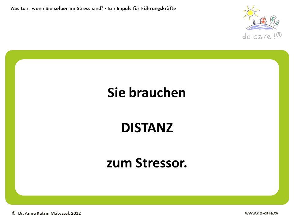 Was tun, wenn Sie selber im Stress sind? – Ein Impuls für Führungskräfte ® www.do-care.tv © Dr. Anne Katrin Matyssek 2012 Sie brauchen DISTANZ zum Str