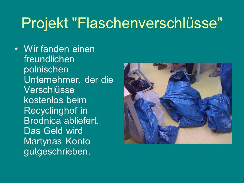 Projekt Flaschenverschlüsse Inzwischen sammelt auch die Paul Löbe Schule in einer AG Plastikschraub- verschlüsse.