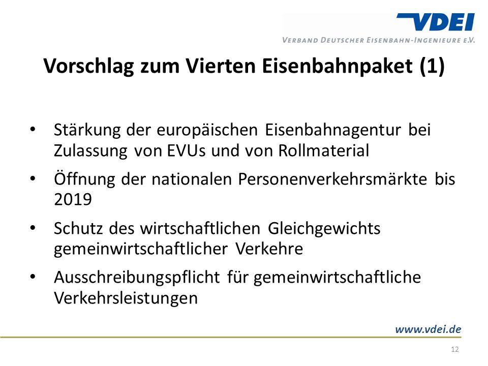 www.vdei.de Vorschlag zum Vierten Eisenbahnpaket (1) Stärkung der europäischen Eisenbahnagentur bei Zulassung von EVUs und von Rollmaterial Öffnung der nationalen Personenverkehrsmärkte bis 2019 Schutz des wirtschaftlichen Gleichgewichts gemeinwirtschaftlicher Verkehre Ausschreibungspflicht für gemeinwirtschaftliche Verkehrsleistungen 12