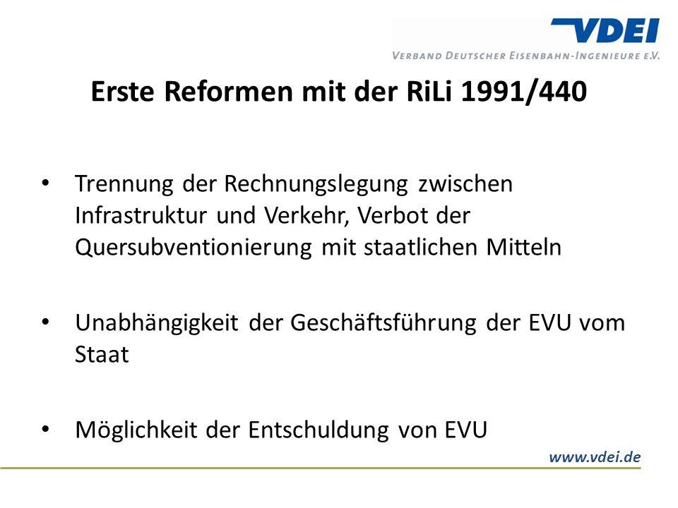 www.vdei.de Erste Reformen mit der RiLi 1991/440 Trennung der Rechnungslegung zwischen Infrastruktur und Verkehr, Verbot der Quersubventionierung mit staatlichen Mitteln Unabhängigkeit der Geschäftsführung der EVU vom Staat Möglichkeit der Entschuldung von EVU
