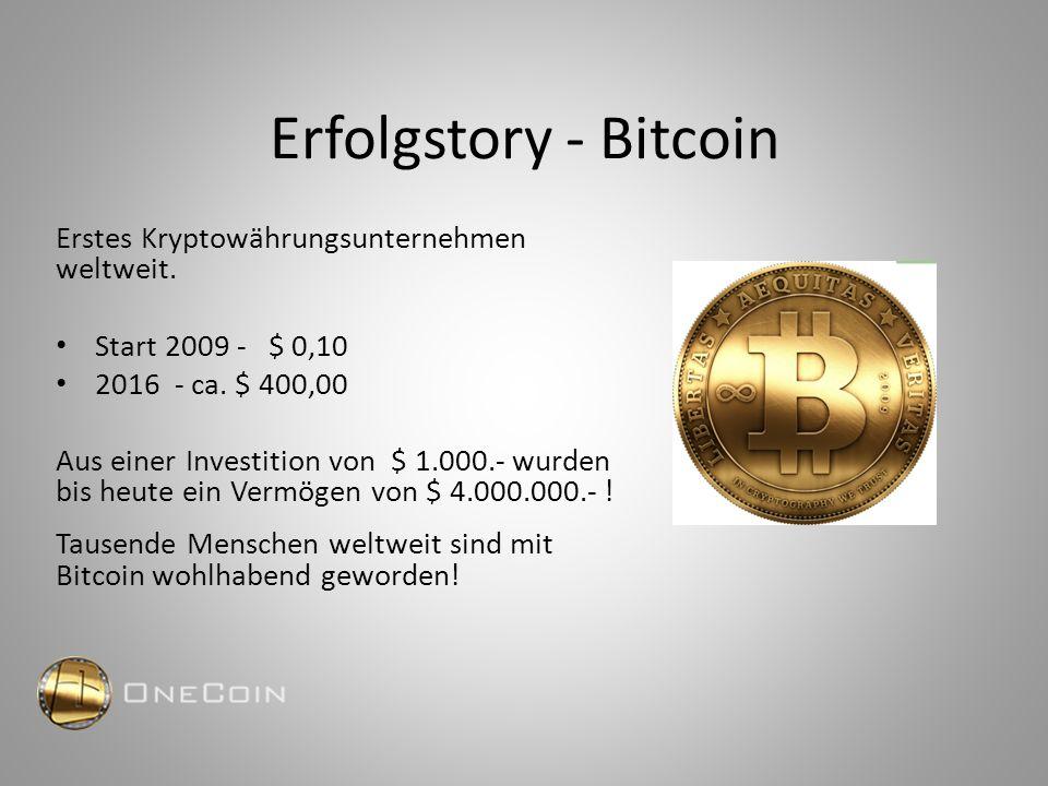 Erfolgstory - Bitcoin Erstes Kryptowährungsunternehmen weltweit. Start 2009 - $ 0,10 2016 - ca. $ 400,00 Aus einer Investition von $ 1.000.- wurden bi