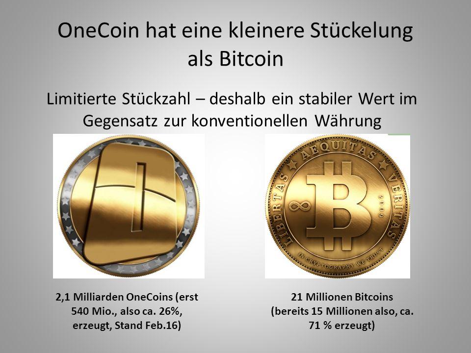 OneCoin hat eine kleinere Stückelung als Bitcoin Limitierte Stückzahl – deshalb ein stabiler Wert im Gegensatz zur konventionellen Währung 2,1 Milliar