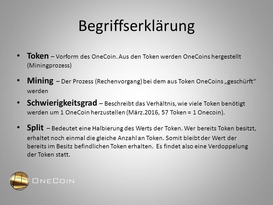 Begriffserklärung Token – Vorform des OneCoin. Aus den Token werden OneCoins hergestellt (Miningprozess) Mining – Der Prozess (Rechenvorgang) bei dem