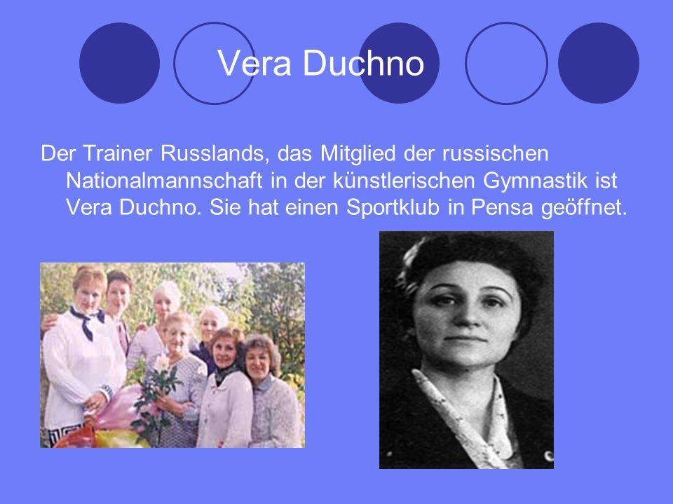 Vera Duchno Der Trainer Russlands, das Mitglied der russischen Nationalmannschaft in der künstlerischen Gymnastik ist Vera Duchno.
