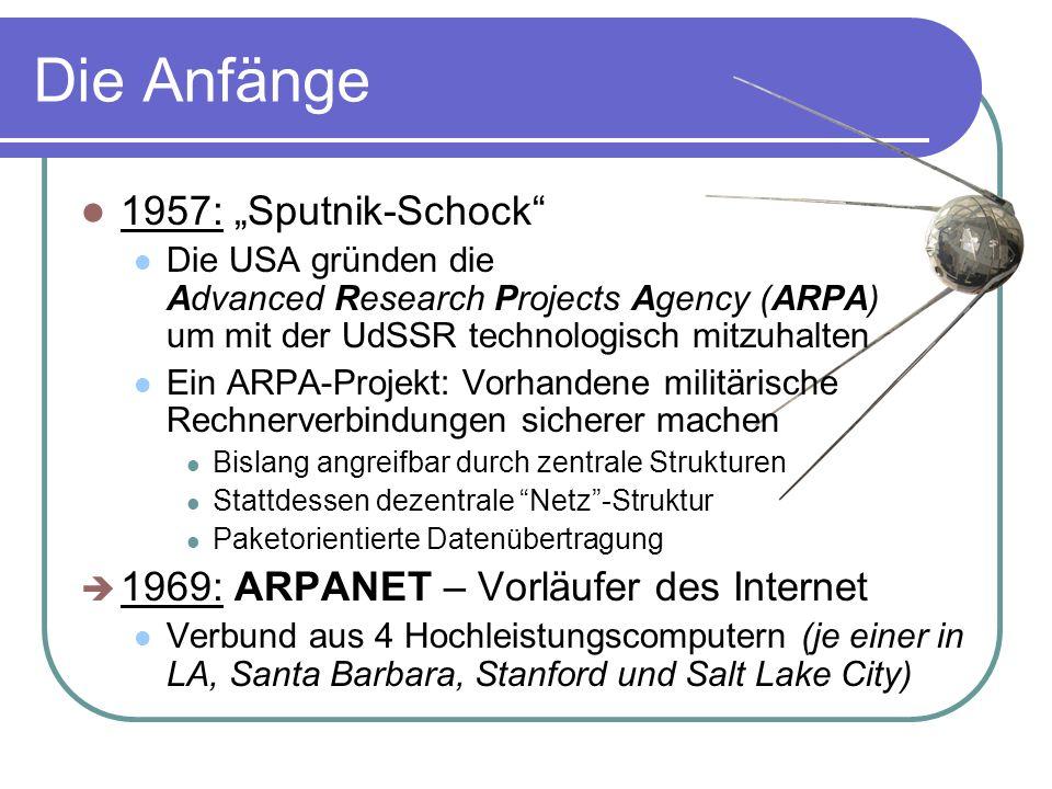 """Die Anfänge 1957: """"Sputnik-Schock Die USA gründen die Advanced Research Projects Agency (ARPA) um mit der UdSSR technologisch mitzuhalten Ein ARPA-Projekt: Vorhandene militärische Rechnerverbindungen sicherer machen Bislang angreifbar durch zentrale Strukturen Stattdessen dezentrale Netz -Struktur Paketorientierte Datenübertragung  1969: ARPANET – Vorläufer des Internet Verbund aus 4 Hochleistungscomputern (je einer in LA, Santa Barbara, Stanford und Salt Lake City)"""