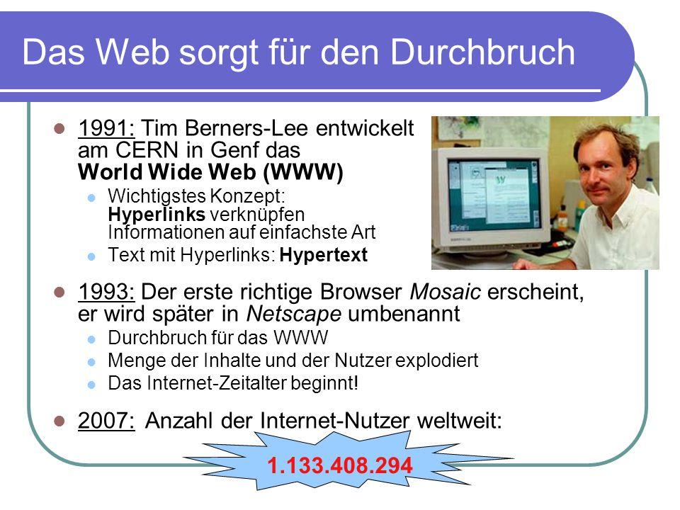 Das Web sorgt für den Durchbruch 1991: Tim Berners-Lee entwickelt am CERN in Genf das World Wide Web (WWW) Wichtigstes Konzept: Hyperlinks verknüpfen Informationen auf einfachste Art Text mit Hyperlinks: Hypertext 1993: Der erste richtige Browser Mosaic erscheint, er wird später in Netscape umbenannt Durchbruch für das WWW Menge der Inhalte und der Nutzer explodiert Das Internet-Zeitalter beginnt.