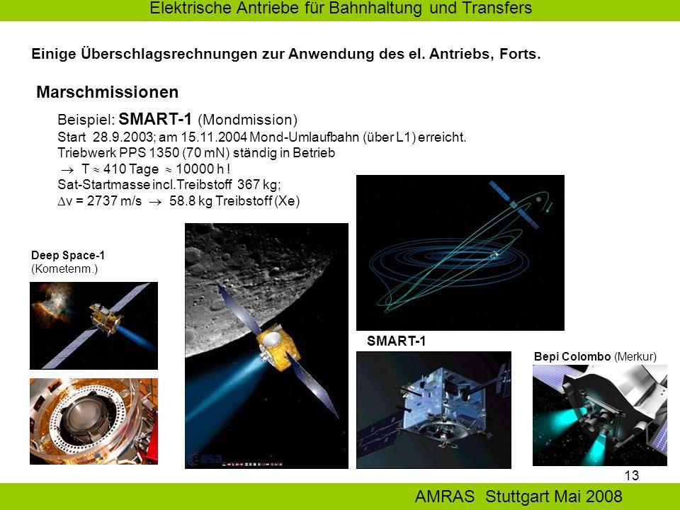 13 Elektrische Antriebe für Bahnhaltung und Transfers AMRAS Stuttgart Mai 2008 Einige Überschlagsrechnungen zur Anwendung des el.
