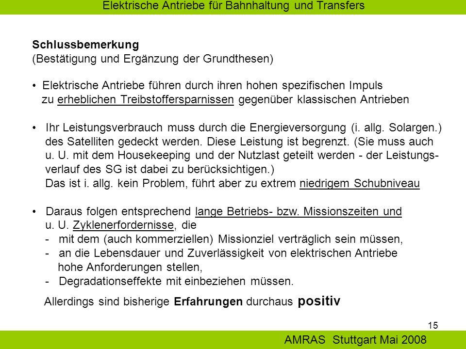 15 Elektrische Antriebe für Bahnhaltung und Transfers AMRAS Stuttgart Mai 2008 Schlussbemerkung (Bestätigung und Ergänzung der Grundthesen) Elektrische Antriebe führen durch ihren hohen spezifischen Impuls zu erheblichen Treibstoffersparnissen gegenüber klassischen Antrieben Ihr Leistungsverbrauch muss durch die Energieversorgung (i.