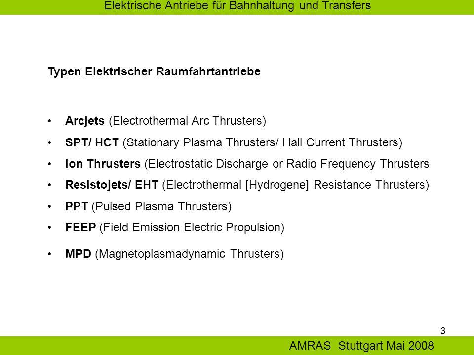 3 Elektrische Antriebe für Bahnhaltung und Transfers AMRAS Stuttgart Mai 2008 Arcjets (Electrothermal Arc Thrusters) SPT/ HCT (Stationary Plasma Thrusters/ Hall Current Thrusters) Ion Thrusters (Electrostatic Discharge or Radio Frequency Thrusters Resistojets/ EHT (Electrothermal [Hydrogene] Resistance Thrusters) PPT (Pulsed Plasma Thrusters) FEEP (Field Emission Electric Propulsion) MPD (Magnetoplasmadynamic Thrusters) Typen Elektrischer Raumfahrtantriebe