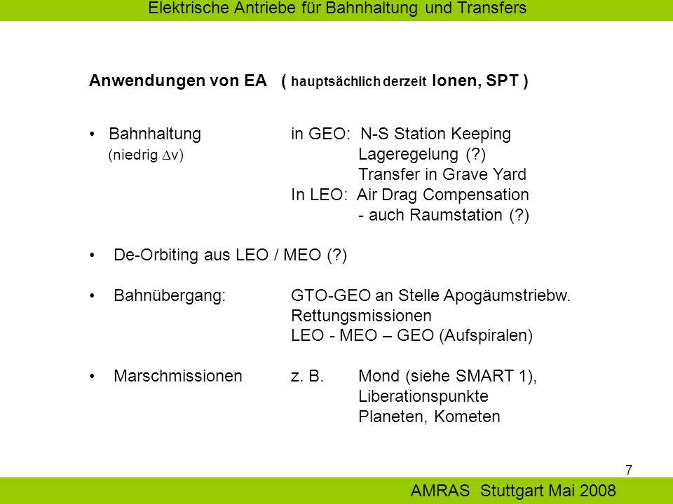 7 Elektrische Antriebe für Bahnhaltung und Transfers AMRAS Stuttgart Mai 2008 Anwendungen von EA ( hauptsächlich derzeit Ionen, SPT ) Bahnhaltung in GEO: N-S Station Keeping (niedrig  v) Lageregelung ( ) Transfer in Grave Yard In LEO: Air Drag Compensation - auch Raumstation ( ) De-Orbiting aus LEO / MEO ( ) Bahnübergang: GTO-GEO an Stelle Apogäumstriebw.