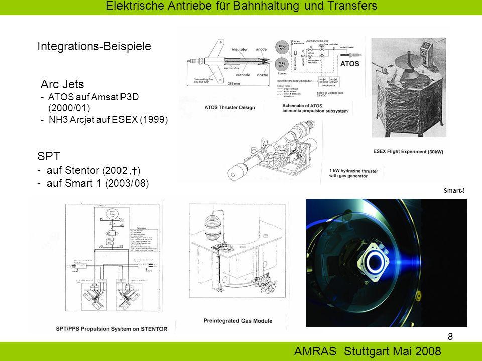 8 Elektrische Antriebe für Bahnhaltung und Transfers AMRAS Stuttgart Mai 2008 Integrations-Beispiele SPT - auf Stentor (2002,†) - auf Smart 1 (2003/ 06) Arc Jets - ATOS auf Amsat P3D (2000/01) - NH3 Arcjet auf ESEX (1999) Smart-!