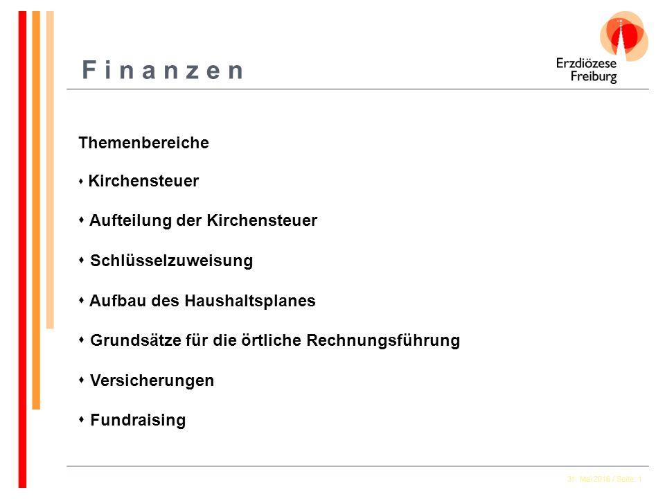 31. Mai 2016 / Seite: 1 F i n a n z e n Themenbereiche  Kirchensteuer  Aufteilung der Kirchensteuer  Schlüsselzuweisung  Aufbau des Haushaltsplane