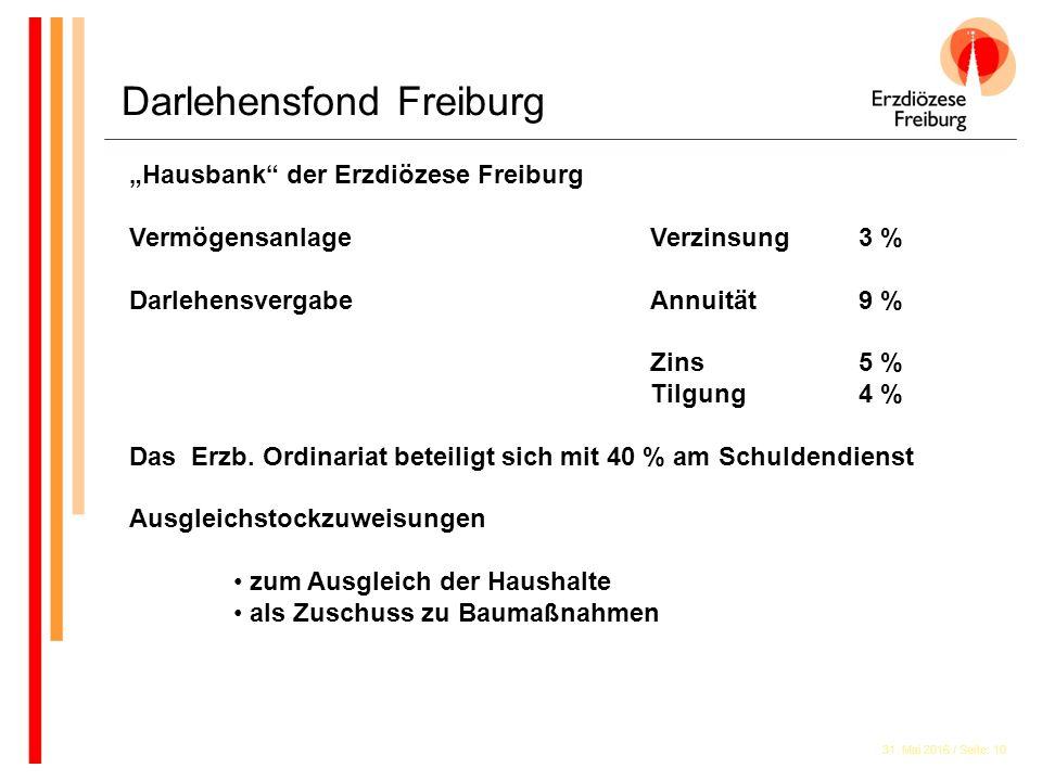 """31. Mai 2016 / Seite: 10 Darlehensfond Freiburg """"Hausbank"""" der Erzdiözese Freiburg VermögensanlageVerzinsung 3 % DarlehensvergabeAnnuität 9 % Zins 5 %"""