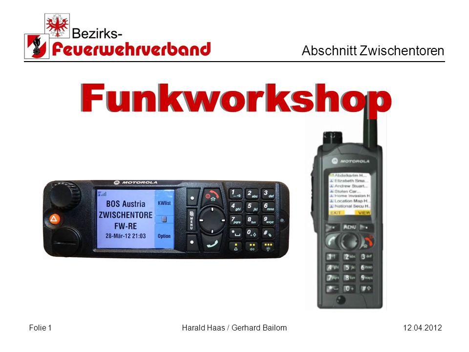 Folie 1 Abschnitt Zwischentoren 12.04.2012 Harald Haas / Gerhard Bailom Funkworkshop