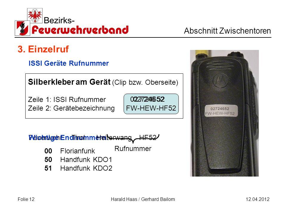 Folie 12 Abschnitt Zwischentoren 12.04.2012 Harald Haas / Gerhard Bailom FW-HEW-HF52 02724652 Silberkleber am Gerät (Clip bzw.