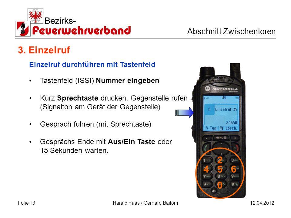 Folie 13 Abschnitt Zwischentoren 12.04.2012 Harald Haas / Gerhard Bailom 3.