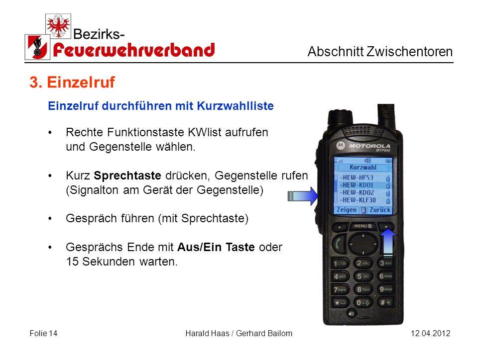 Folie 14 Abschnitt Zwischentoren 12.04.2012 Harald Haas / Gerhard Bailom 3.
