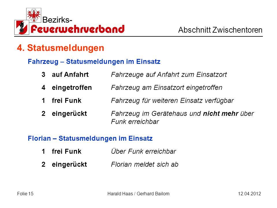 Folie 15 Abschnitt Zwischentoren 12.04.2012 Harald Haas / Gerhard Bailom 4.