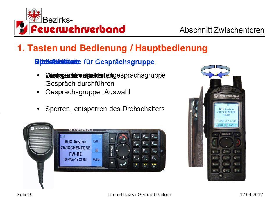 Folie 3 Abschnitt Zwischentoren 12.04.2012 Harald Haas / Gerhard Bailom Funkgerät einschalten Ein / Austaste 1.