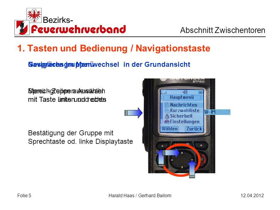 Folie 5 Abschnitt Zwischentoren 12.04.2012 Harald Haas / Gerhard Bailom 1.
