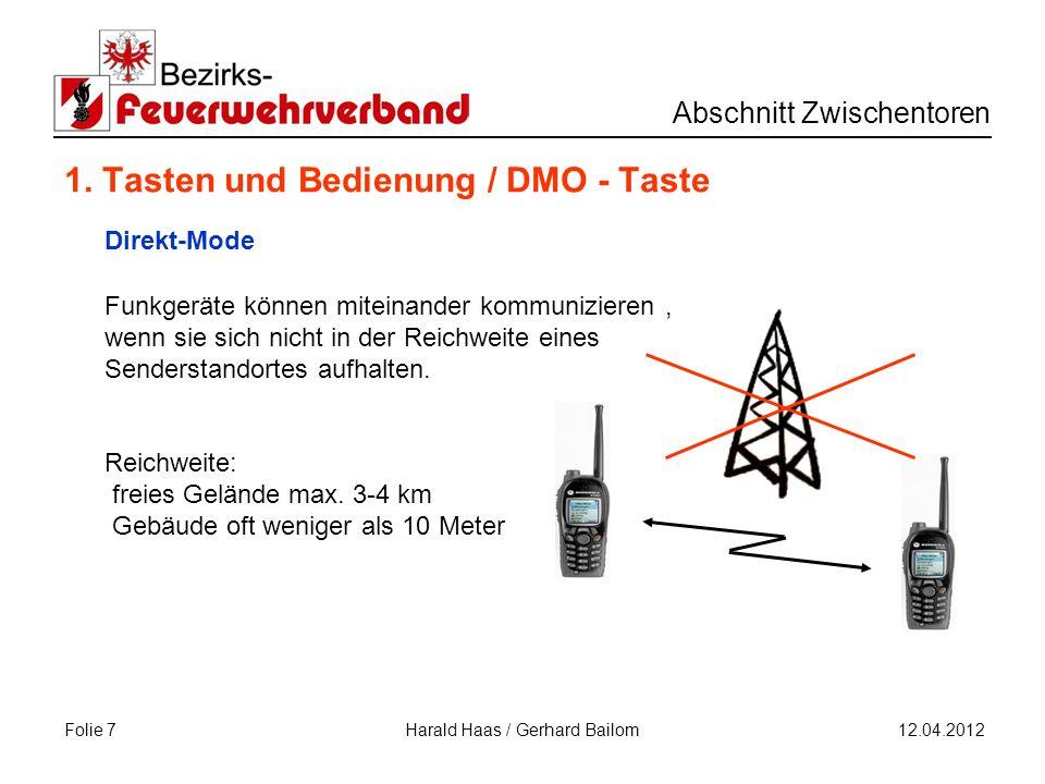Folie 8 Abschnitt Zwischentoren 12.04.2012 Harald Haas / Gerhard Bailom 1.