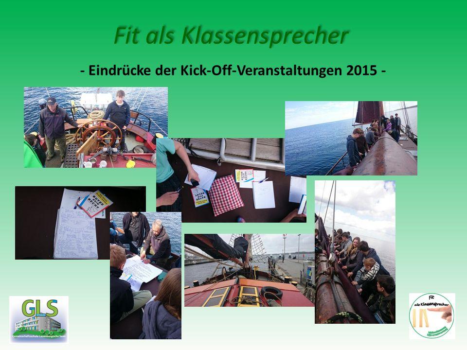 Fit als Klassensprecher - Eindrücke der Kick-Off-Veranstaltungen 2015 -