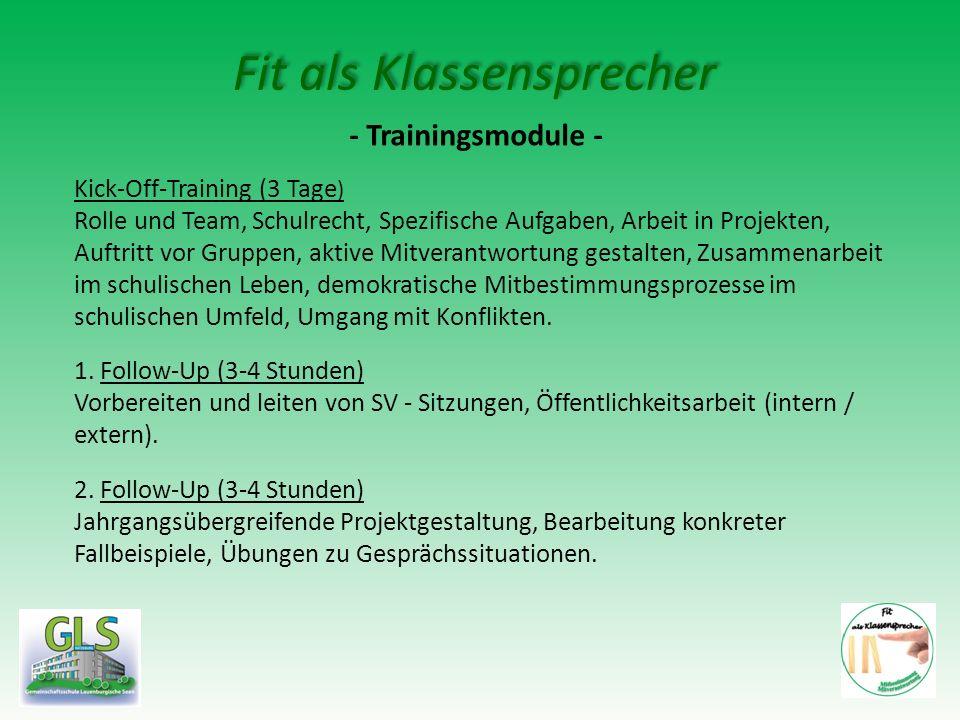 Fit als Klassensprecher - Trainingsmodule - Kick-Off-Training (3 Tage ) Rolle und Team, Schulrecht, Spezifische Aufgaben, Arbeit in Projekten, Auftrit