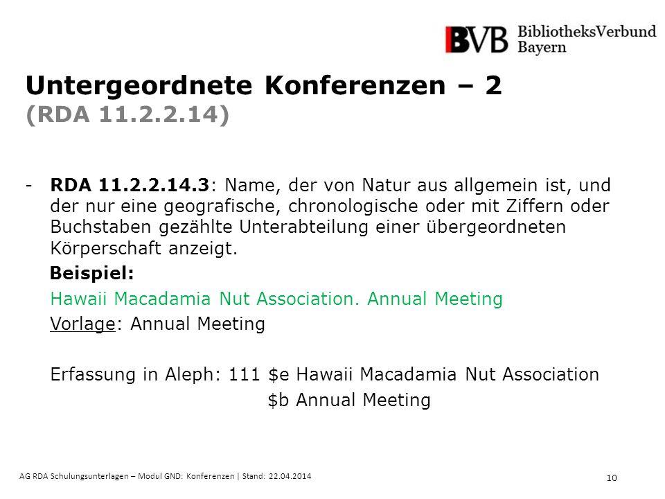 10 AG RDA Schulungsunterlagen – Modul GND: Konferenzen | Stand: 22.04.2014 Untergeordnete Konferenzen – 2 (RDA 11.2.2.14) -RDA 11.2.2.14.3: Name, der von Natur aus allgemein ist, und der nur eine geografische, chronologische oder mit Ziffern oder Buchstaben gezählte Unterabteilung einer übergeordneten Körperschaft anzeigt.