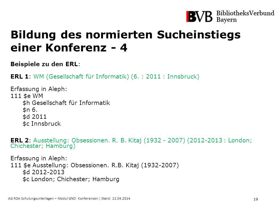 19 AG RDA Schulungsunterlagen – Modul GND: Konferenzen | Stand: 22.04.2014 Bildung des normierten Sucheinstiegs einer Konferenz - 4 Beispiele zu den E