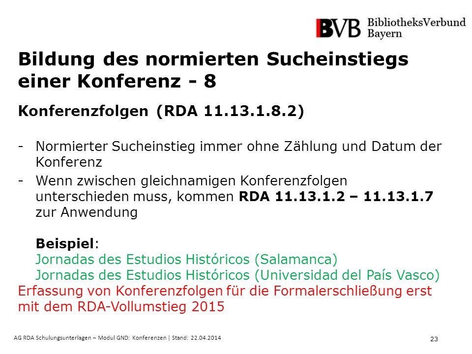 23 AG RDA Schulungsunterlagen – Modul GND: Konferenzen | Stand: 22.04.2014 Bildung des normierten Sucheinstiegs einer Konferenz - 8 Konferenzfolgen (R