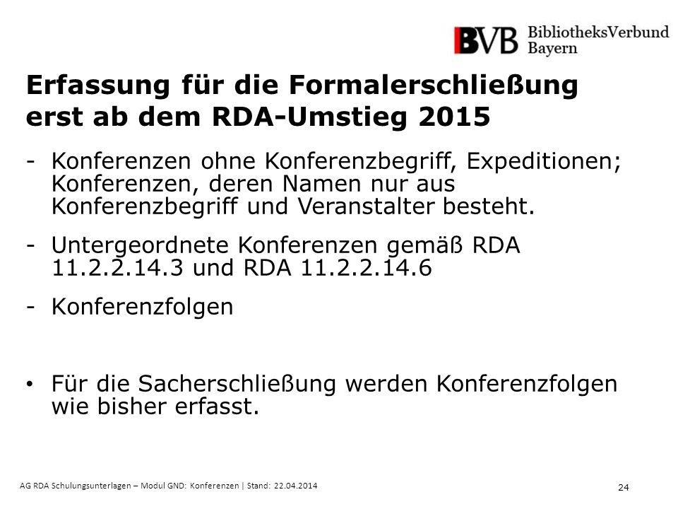24 AG RDA Schulungsunterlagen – Modul GND: Konferenzen | Stand: 22.04.2014 Erfassung für die Formalerschließung erst ab dem RDA-Umstieg 2015 -Konferen