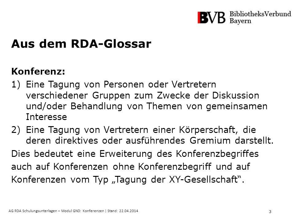 3 AG RDA Schulungsunterlagen – Modul GND: Konferenzen | Stand: 22.04.2014 Aus dem RDA-Glossar Konferenz: 1)Eine Tagung von Personen oder Vertretern ve