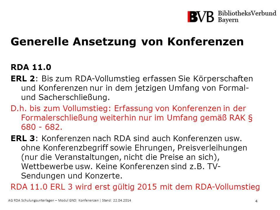 4 AG RDA Schulungsunterlagen – Modul GND: Konferenzen | Stand: 22.04.2014 Generelle Ansetzung von Konferenzen RDA 11.0 ERL 2: Bis zum RDA-Vollumstieg