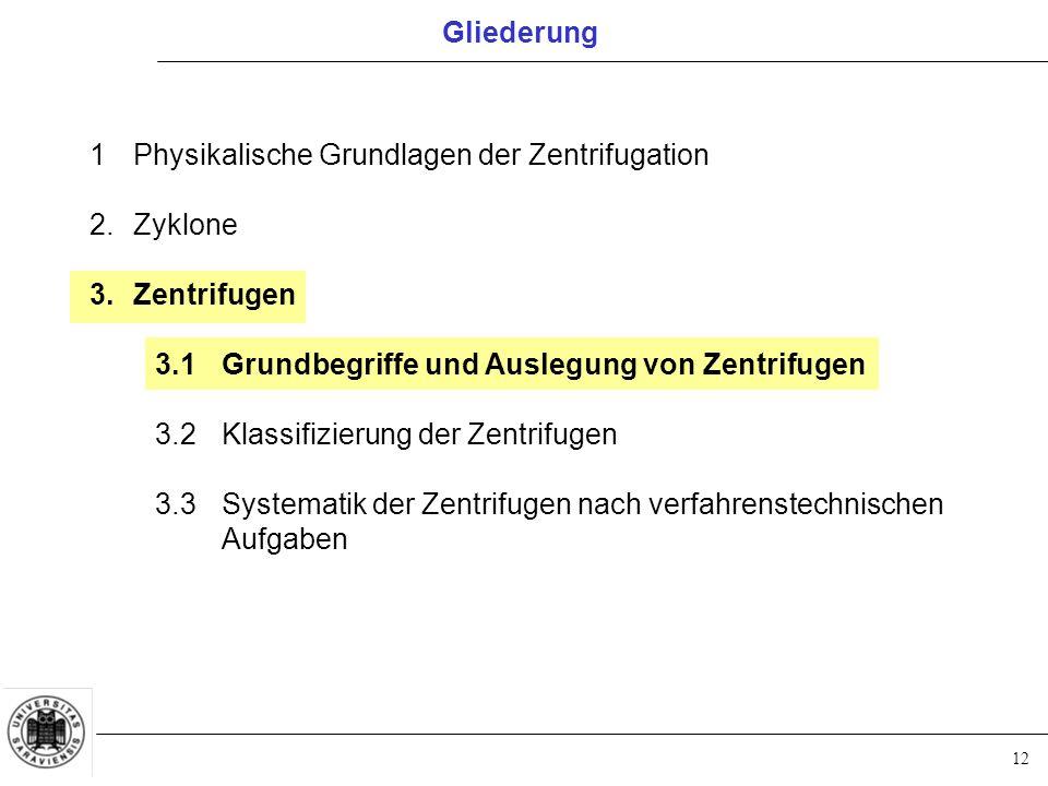 12 Gliederung 1Physikalische Grundlagen der Zentrifugation 2.Zyklone 3.Zentrifugen 3.1Grundbegriffe und Auslegung von Zentrifugen 3.2Klassifizierung d