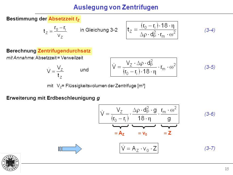 15 Auslegung von Zentrifugen Bestimmung der Absetzzeit t Z in Gleichung 3-2 (3-4) Berechnung Zentrifugendurchsatz mit Annahme: Absetzzeit = Verweilzei