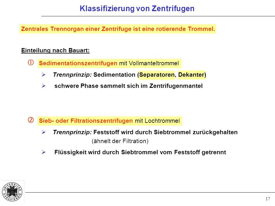 17 Klassifizierung von Zentrifugen Einteilung nach Bauart:  Sedimentationszentrifugen mit Vollmanteltrommel  Trennprinzip: Sedimentation (Separatore