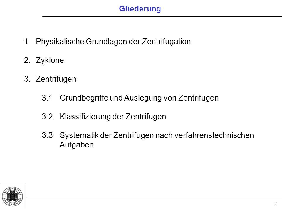 2 Gliederung 1Physikalische Grundlagen der Zentrifugation 2.Zyklone 3.Zentrifugen 3.1Grundbegriffe und Auslegung von Zentrifugen 3.2Klassifizierung de