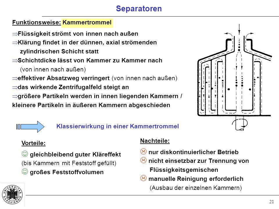 21 Separatoren Funktionsweise: Kammertrommel  Flüssigkeit strömt von innen nach außen  Klärung findet in der dünnen, axial strömenden zylindrischen