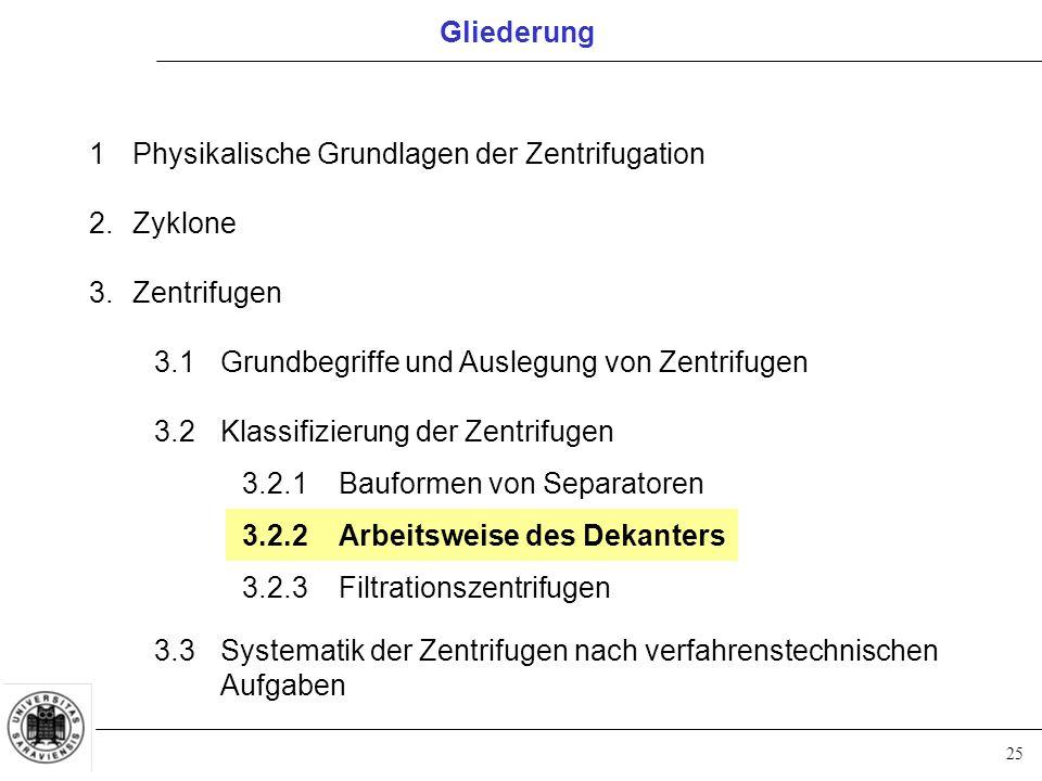 25 Gliederung 1Physikalische Grundlagen der Zentrifugation 2.Zyklone 3.Zentrifugen 3.1Grundbegriffe und Auslegung von Zentrifugen 3.2Klassifizierung d