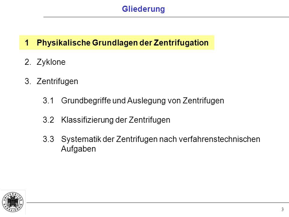 3 Gliederung 1Physikalische Grundlagen der Zentrifugation 2.Zyklone 3.Zentrifugen 3.1Grundbegriffe und Auslegung von Zentrifugen 3.2Klassifizierung de