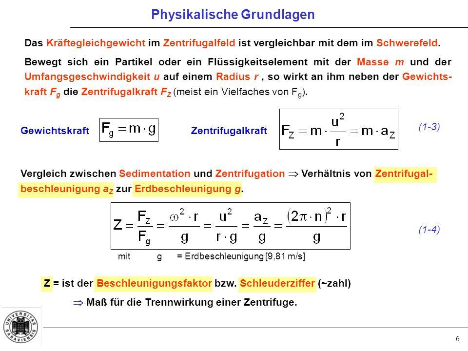 6 Das Kräftegleichgewicht im Zentrifugalfeld ist vergleichbar mit dem im Schwerefeld. Bewegt sich ein Partikel oder ein Flüssigkeitselement mit der Ma