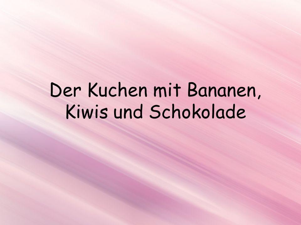 Zutaten Eier (5 St.) Zucker (100 Gramm) Mehl (100-150 Gramm) Quellmehl (1-2 TL) Banane (2 St.) Kiwi (2 St.) Butter (150 Gramm) Vanillin (1 TL) Schokolade (150 Gramm) Kakao (2-3 TL) Erdbeeren und Kirschen