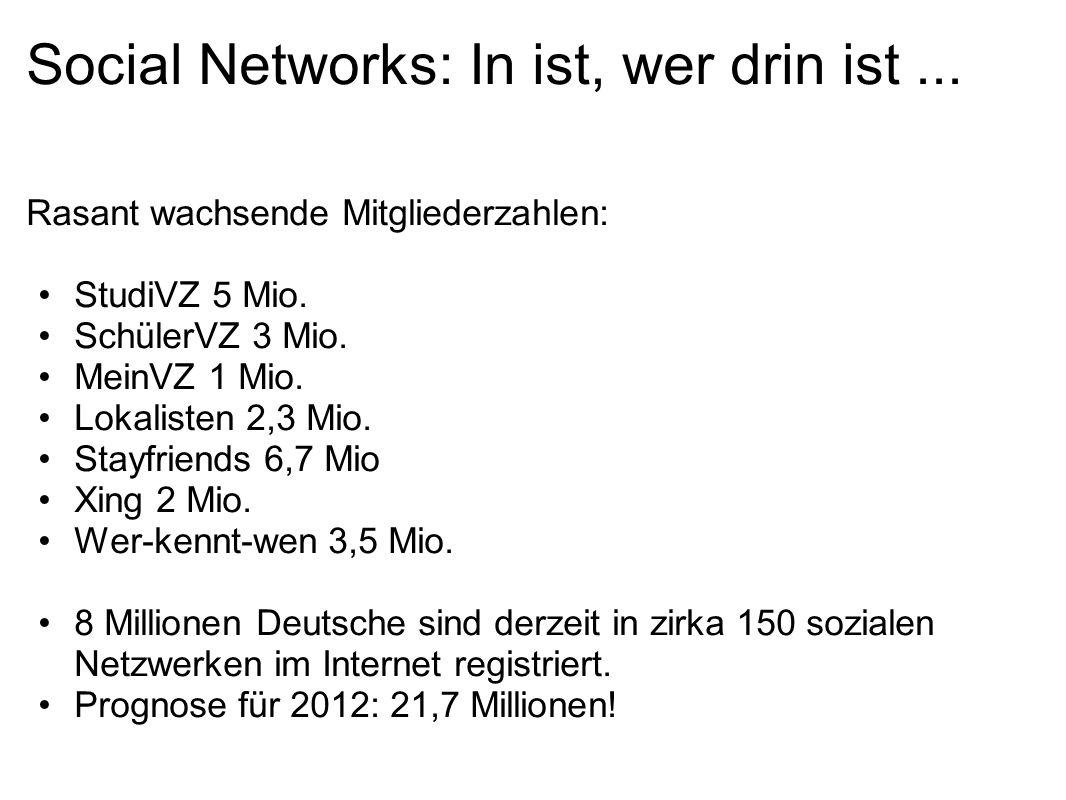 Social Networks: In ist, wer drin ist... Rasant wachsende Mitgliederzahlen: StudiVZ 5 Mio.