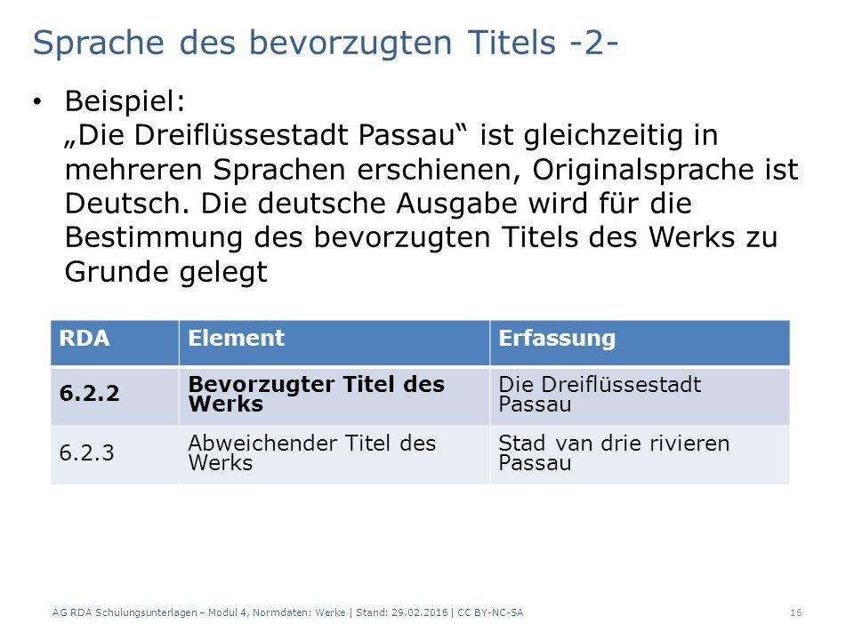 """Sprache des bevorzugten Titels -2- Beispiel: """"Die Dreiflüssestadt Passau"""" ist gleichzeitig in mehreren Sprachen erschienen, Originalsprache ist Deutsc"""