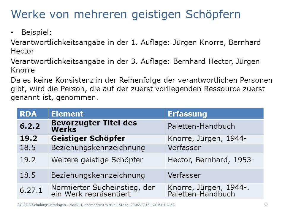Werke von mehreren geistigen Schöpfern Beispiel: Verantwortlichkeitsangabe in der 1. Auflage: Jürgen Knorre, Bernhard Hector Verantwortlichkeitsangabe