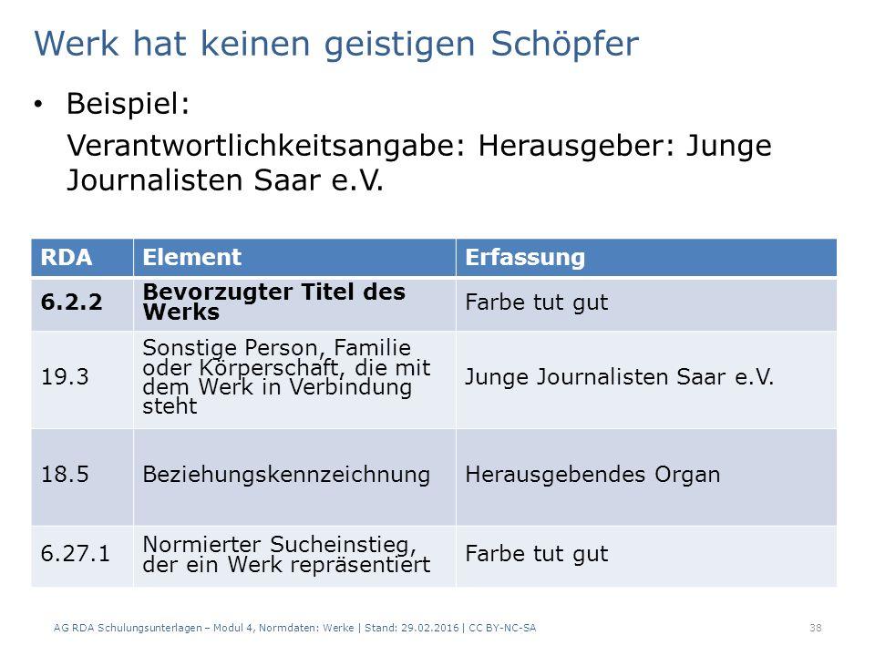 Werk hat keinen geistigen Schöpfer Beispiel: Verantwortlichkeitsangabe: Herausgeber: Junge Journalisten Saar e.V. AG RDA Schulungsunterlagen – Modul 4