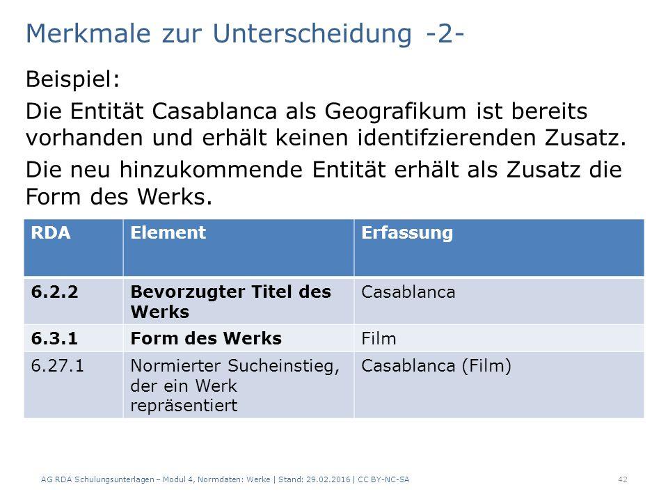 Merkmale zur Unterscheidung -2- Beispiel: Die Entität Casablanca als Geografikum ist bereits vorhanden und erhält keinen identifzierenden Zusatz. Die