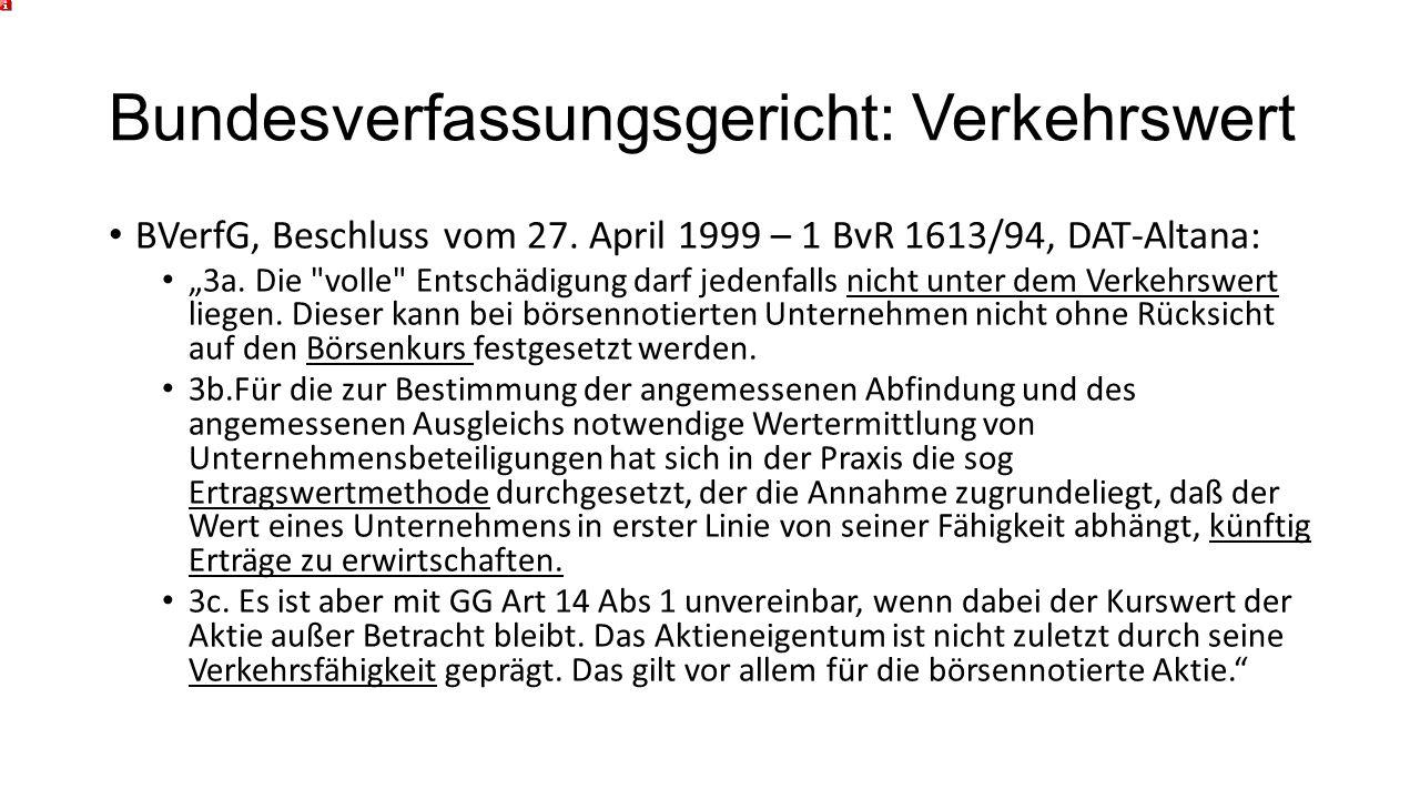 Bundesverfassungsgericht: Verkehrswert BVerfG, Beschluss vom 27.