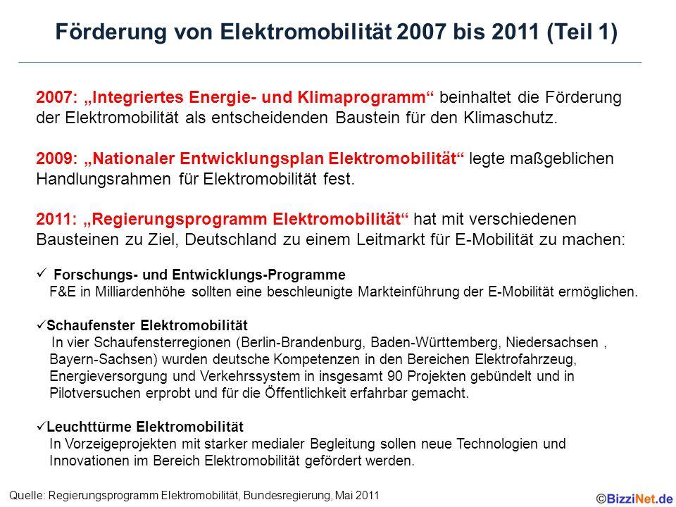 """Förderung von Elektromobilität 2007 bis 2011 (Teil 1) 2007: """"Integriertes Energie- und Klimaprogramm beinhaltet die Förderung der Elektromobilität als entscheidenden Baustein für den Klimaschutz."""
